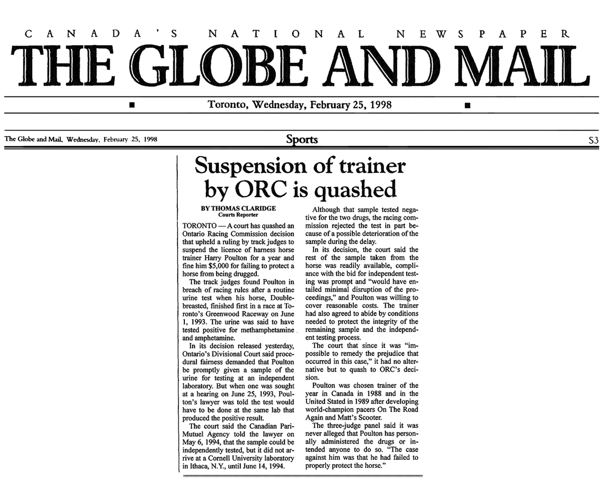 Globe & Mail 1998-02-25 - Simm wins Poulton judicial review in DivCt